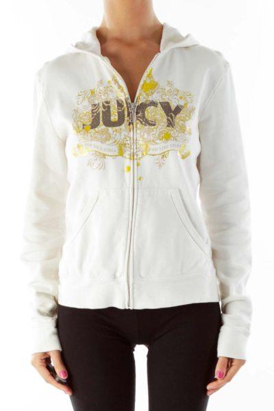 Cream Juicy Print Hoodie