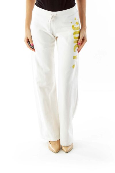 Cream Juicy Print Sweat Pants