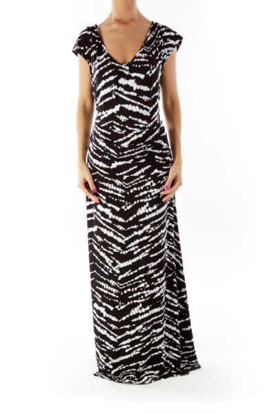Black White Tie Dye Maxi Dress