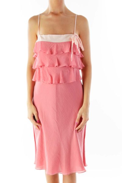 Pink Ruffled Slip Dress