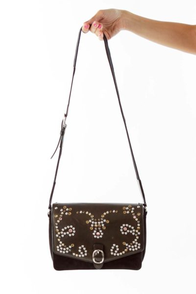 Black Suede Studded Crossbody Bag