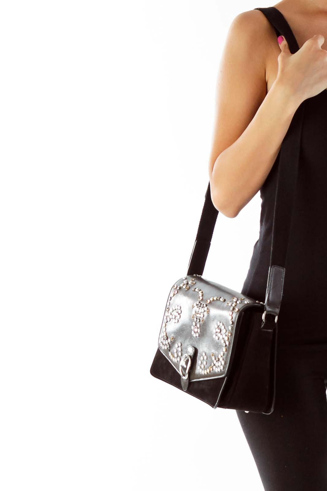 Black Suede Studded Crossbody Bag