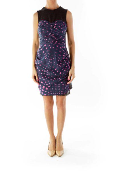 Blue Pink Printed Dress