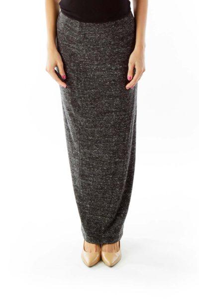 Gray Elastic Maxi Skirt