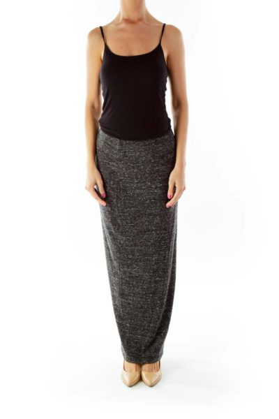 Gray Elastic Maxi Skirt