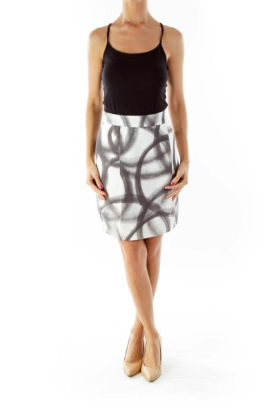 White Black Printed Pencil Skirt
