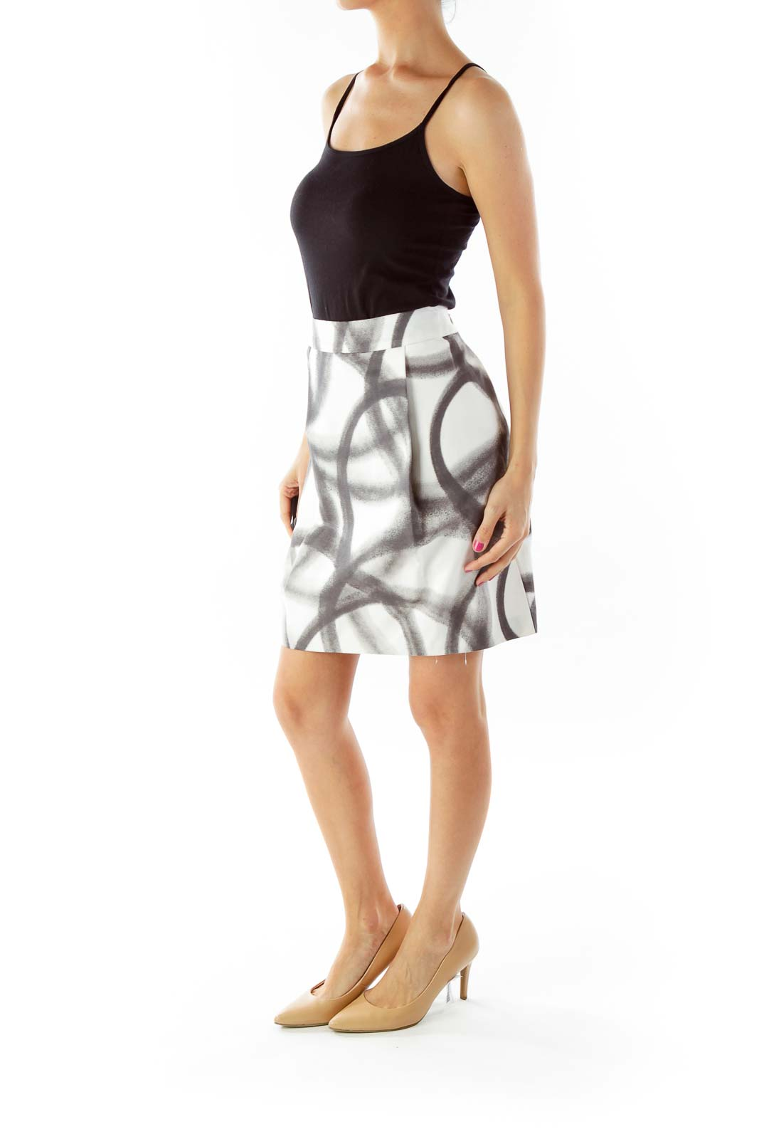 White Black Printed Pencil Skirt