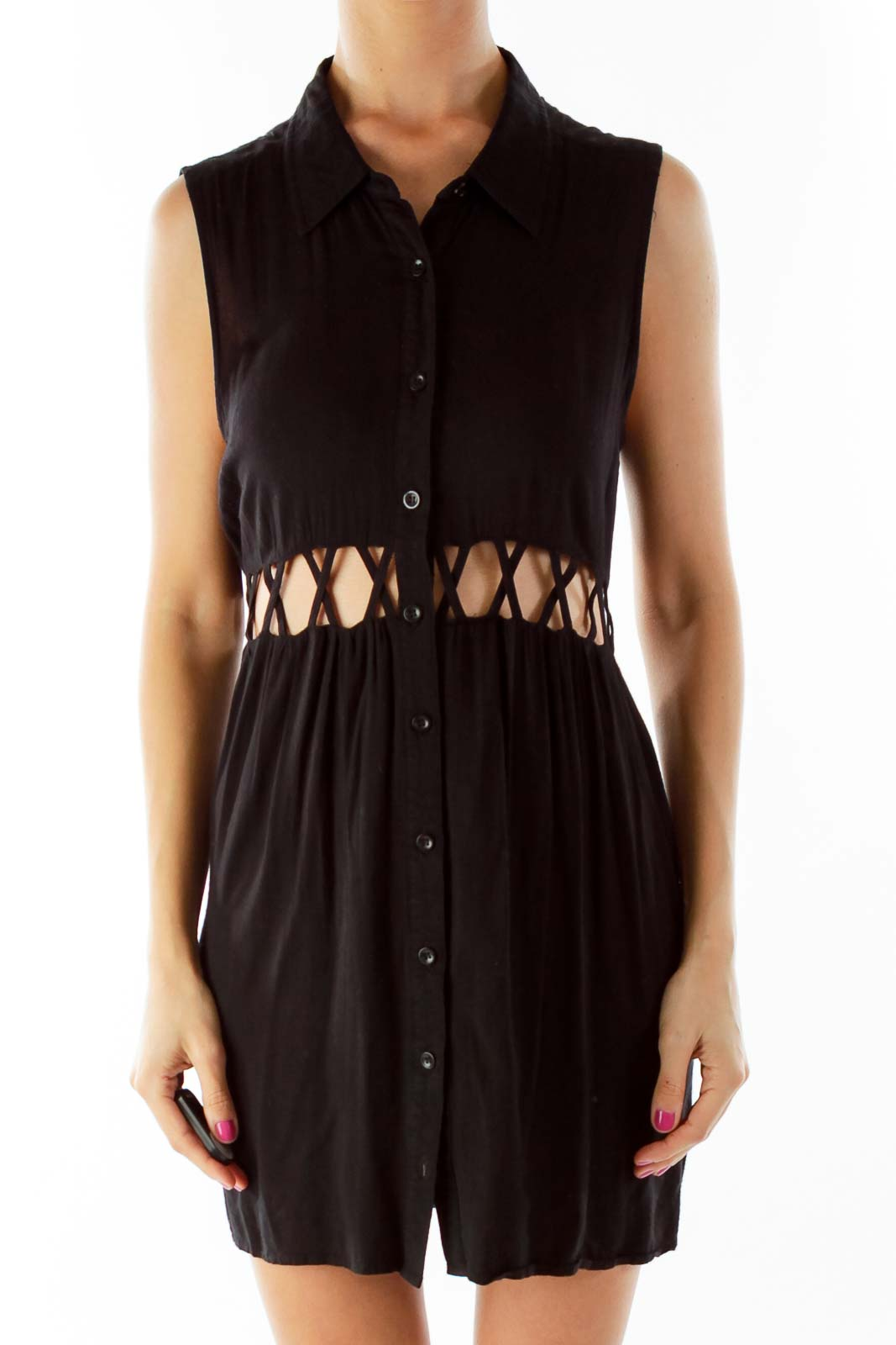 Black Button Down Day Dress with Cut-Out Waist