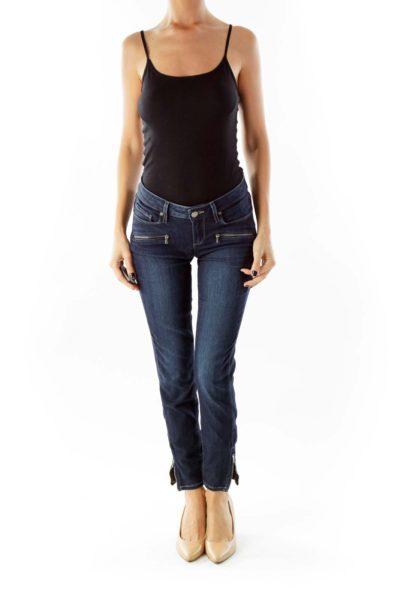 Navy Zippered Skinny Jeans