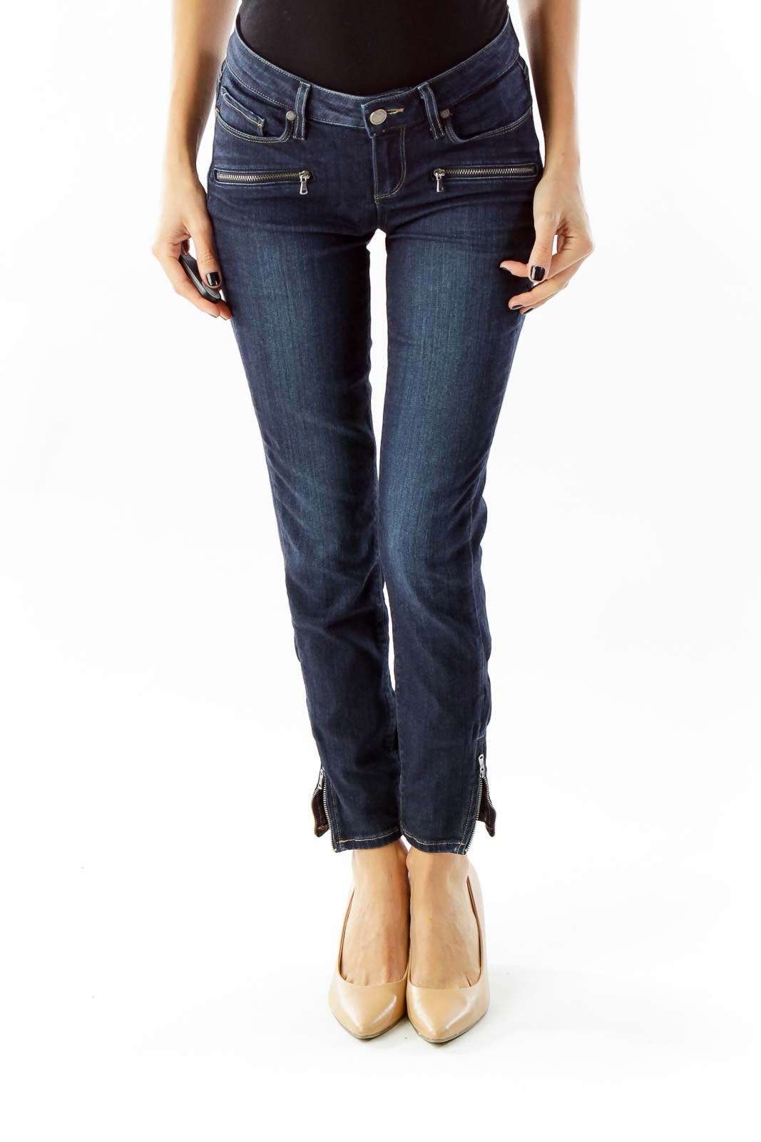 Navy Zippered Skinny Jeans