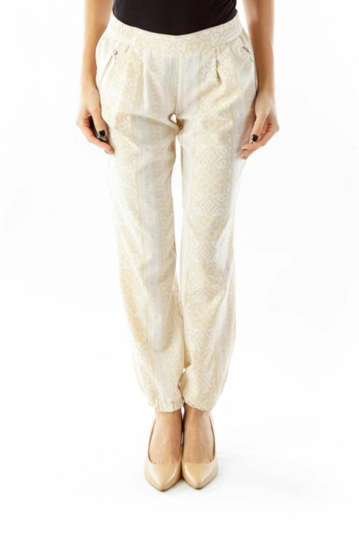 Cream Beige Floral Print Pants