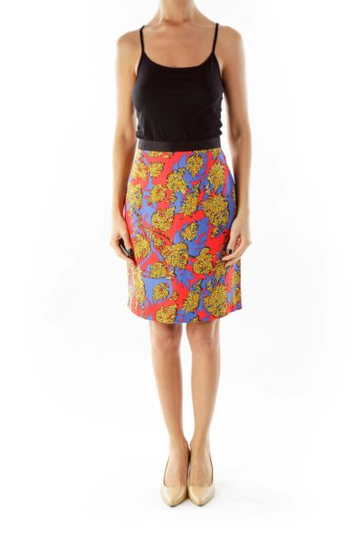 Multicolor Printed High-Waisted Skirt