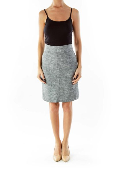Gray Linen Pencil Skirt