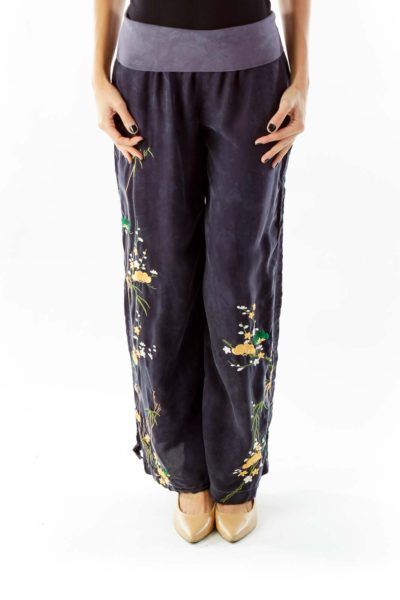 Navy Embroidered Wide-Leg Pants