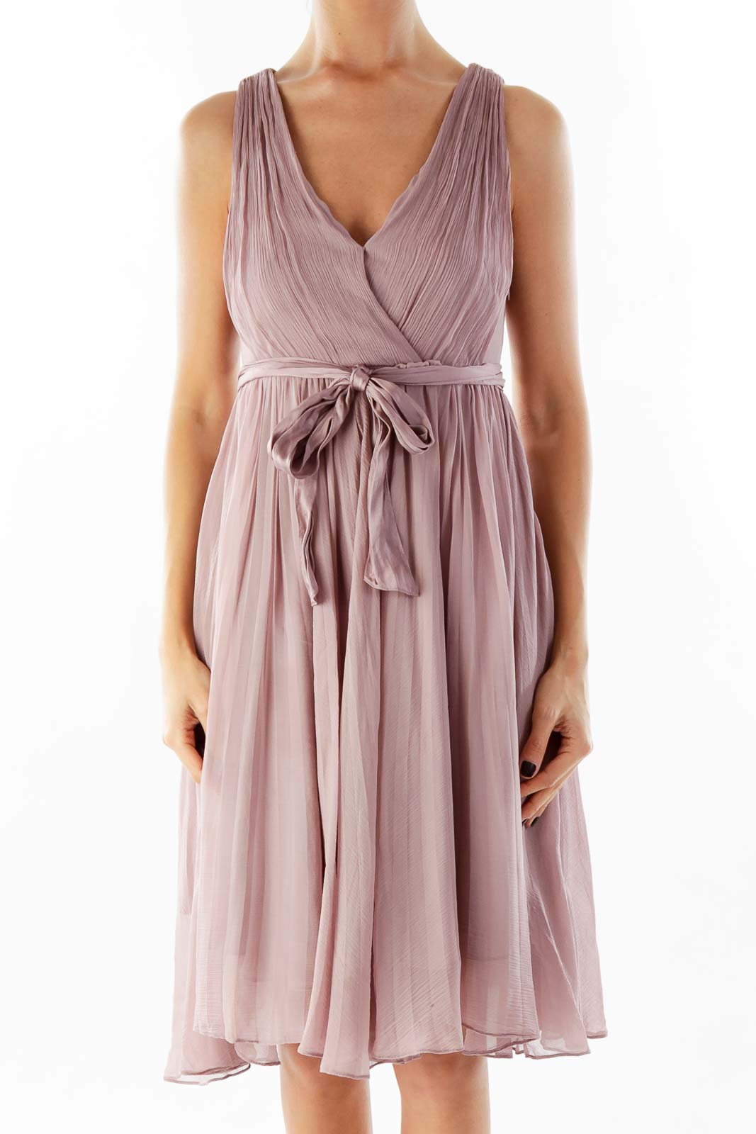 Purple Chiffon Belted Dress
