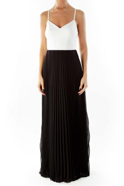 Cream Black Pleated Maxi Dress