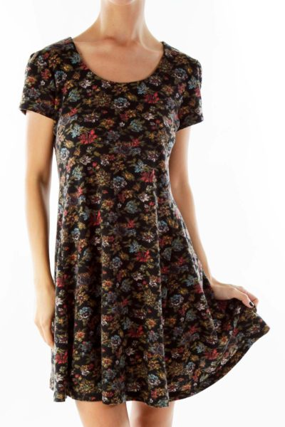 Multicolor Knit Floral Day Dress
