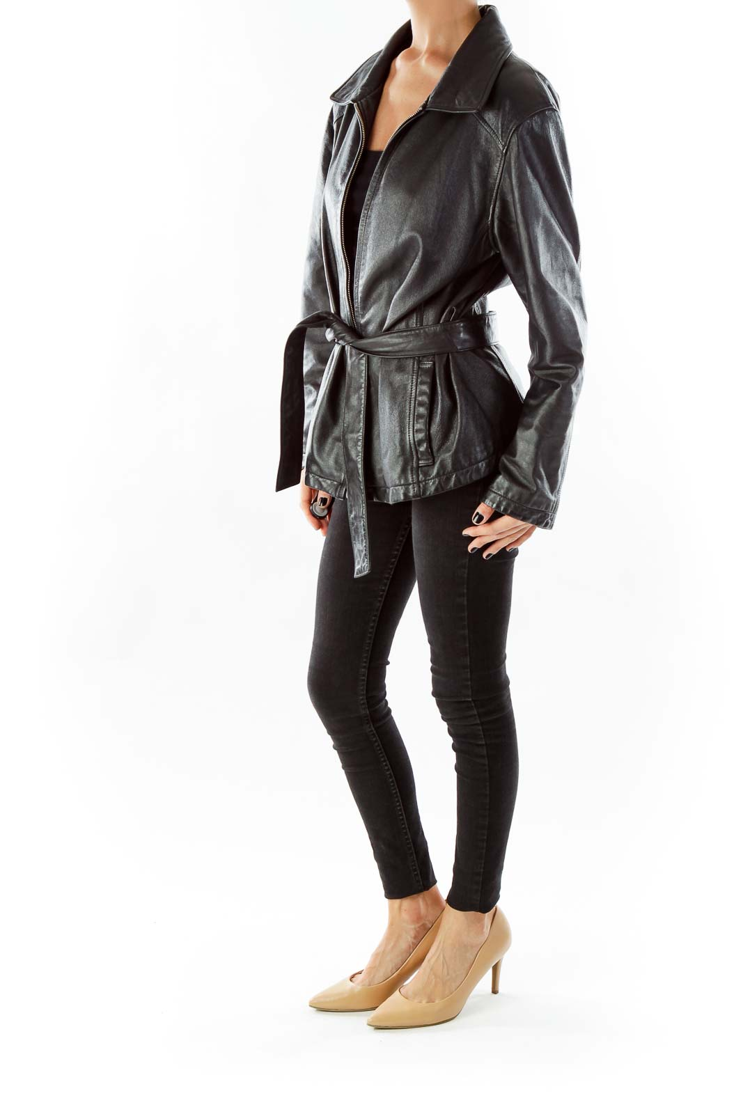 Black Leather Zippered Coat