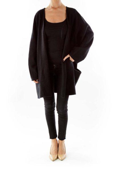 Black Buttonless Coat
