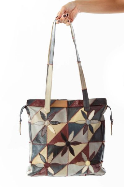 Multicolor Leather Flower Print Tote