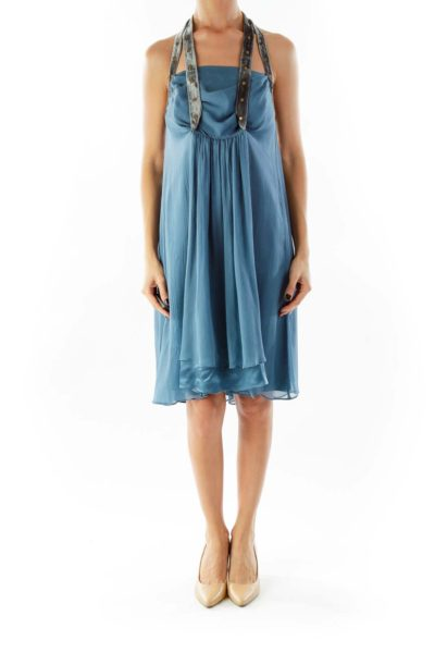 Blue Crepe Cocktail Dress