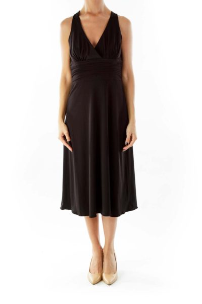 Black V-Neck Scrunched Cocktail Dress