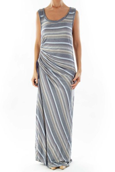 Multicolor Striped Sleeveless Maxi Dress
