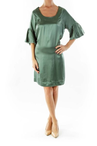 Green Ruffle Sleeve Day Dress