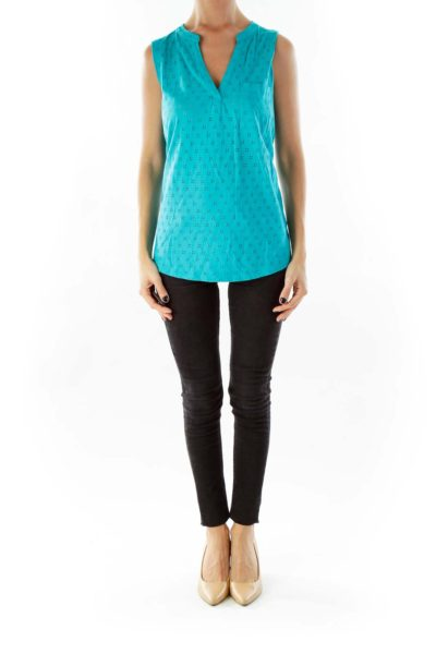 Turquoise Sleeveless V-Neck Top