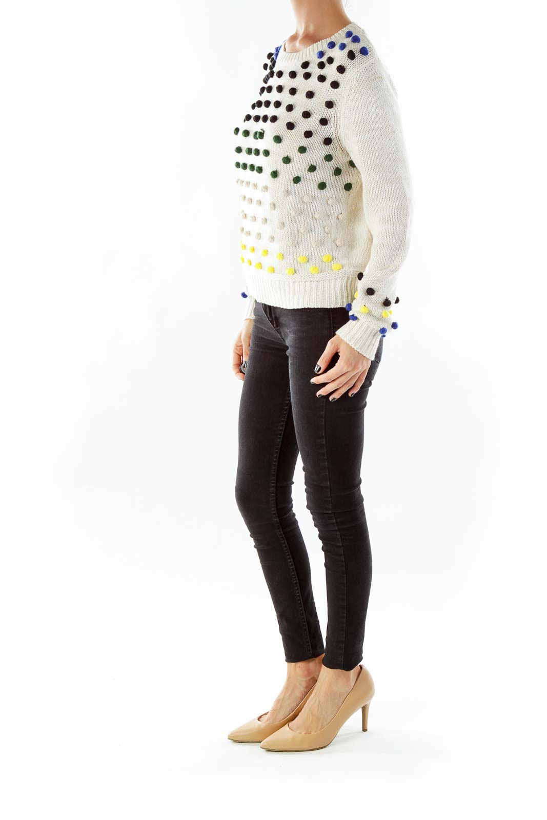 Creme Knit Sweater with Multicolor Dot Detail