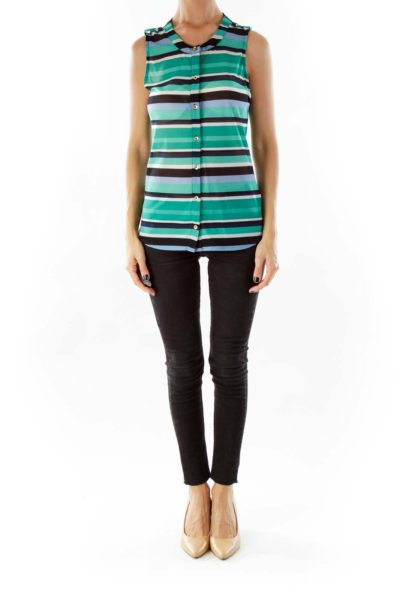 Green Blue White Striped Sleeveless Top