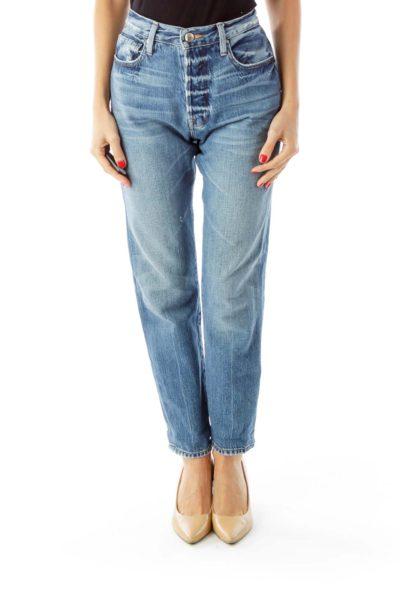 Blue Distressed High-Waist Boyfriend Jeans