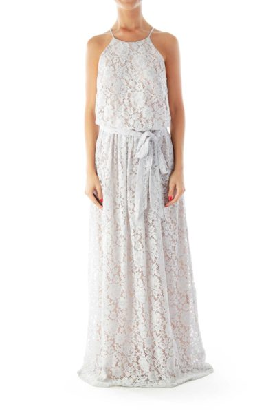 Blue Gray Lace Maxi Dress