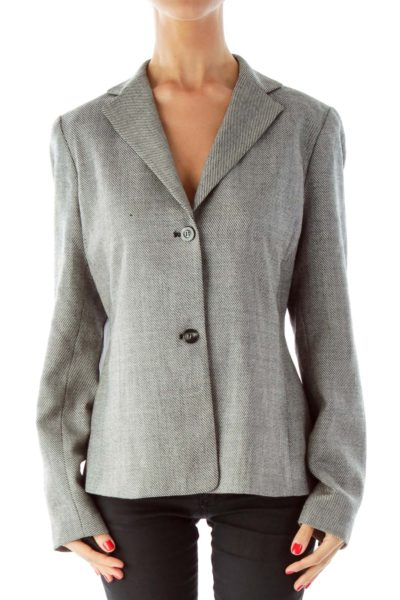 Black White Tweed Blazer, Elbow Patches