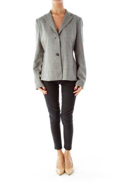 Black White Tweed Blazer, Elbow Patches