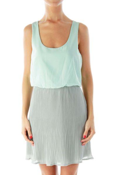 Green Gray Pleated Dress