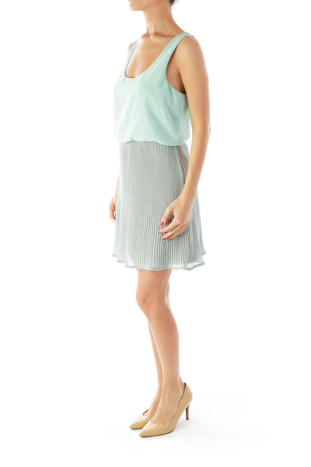 Green Gray Pleated Dress