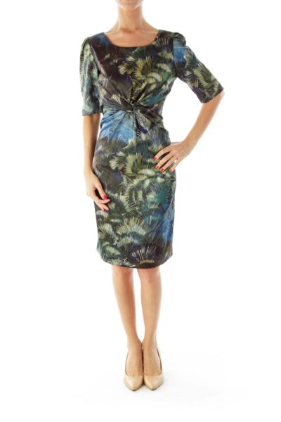 Green Blue Print Dress