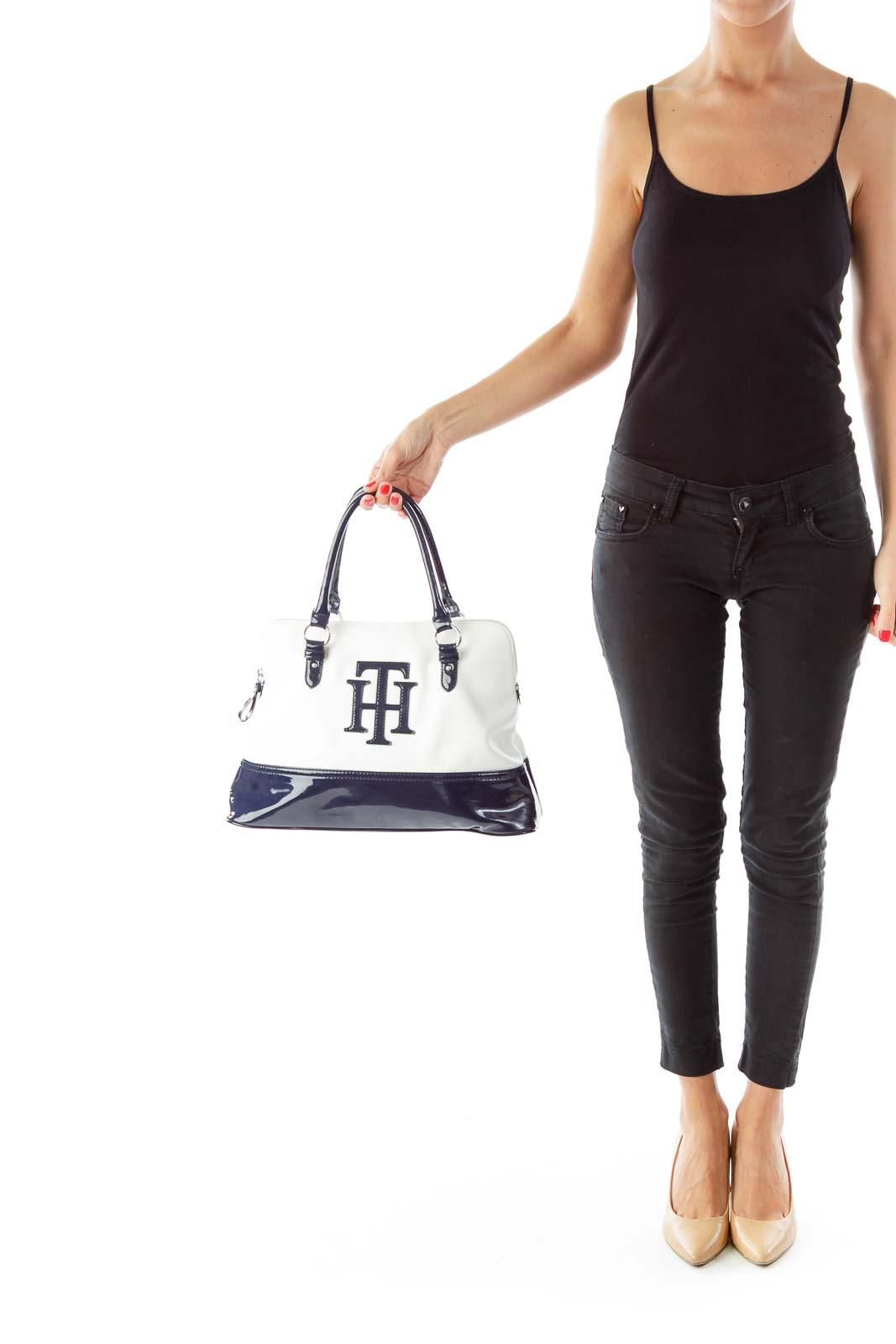 Navy White Monogrammed Bag