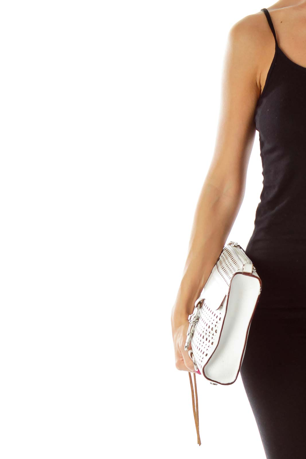 White Clutch with Geometric-Hole Details