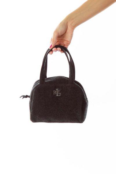 Black Wool Mini Handbag