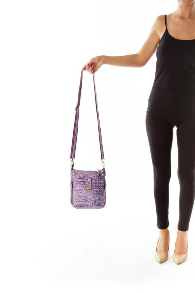 Purple Crocodile Print Crossbody Bag