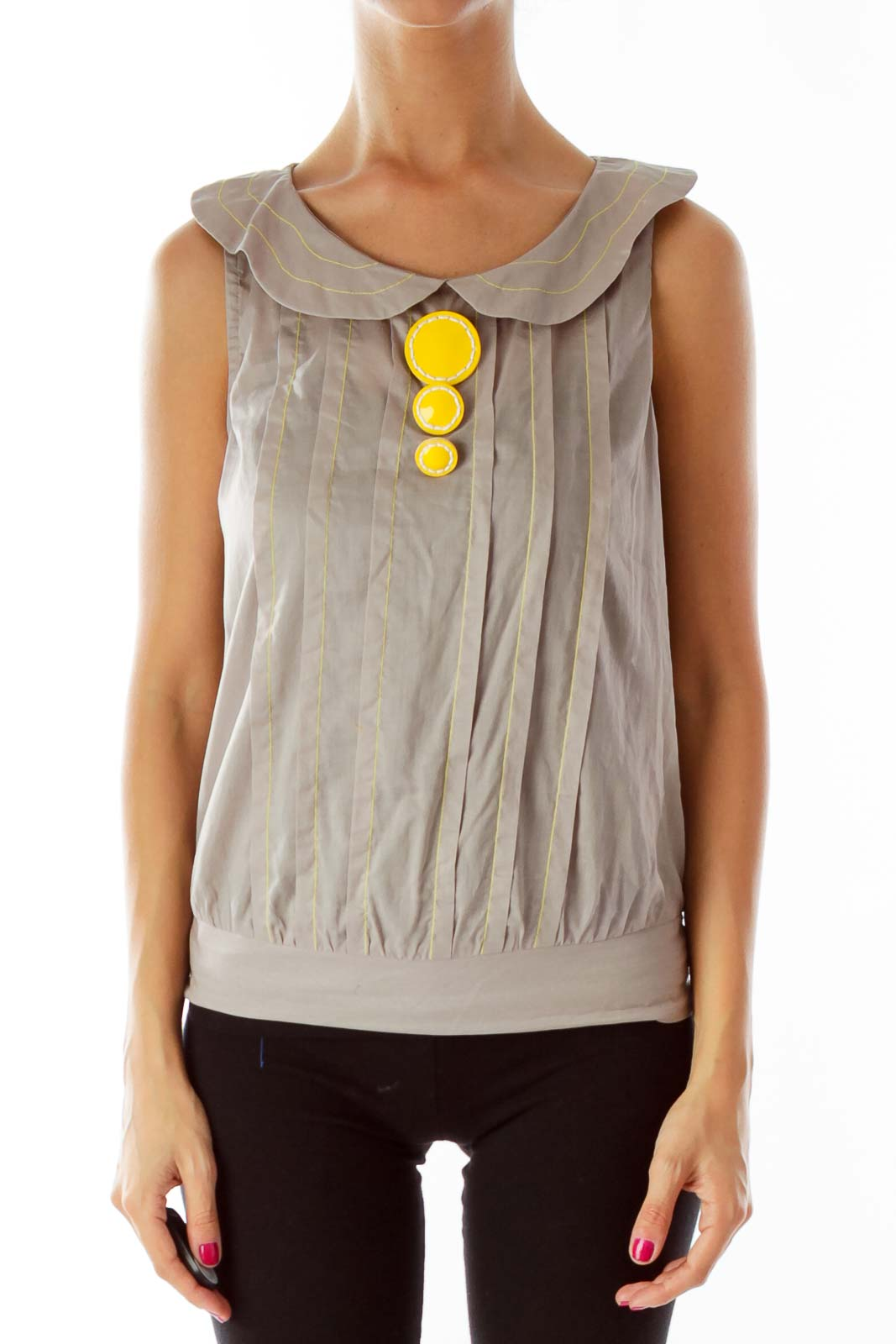 Gray Yellow Buttoned Blouse