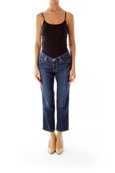 Navy Cropped Straight-leg Jeans