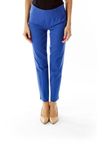 Blue High Waisted Slim Fit Trousers