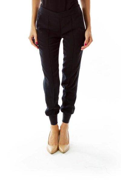 Black Pocketed Tapered Pants