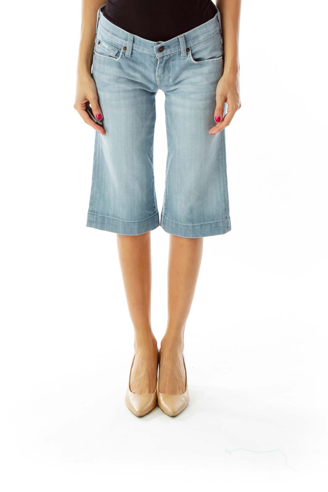 Light Blue Straight Cropped Jeans