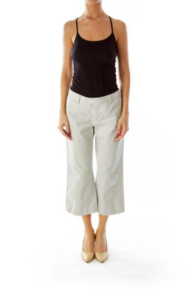 Beige Cropped Pants