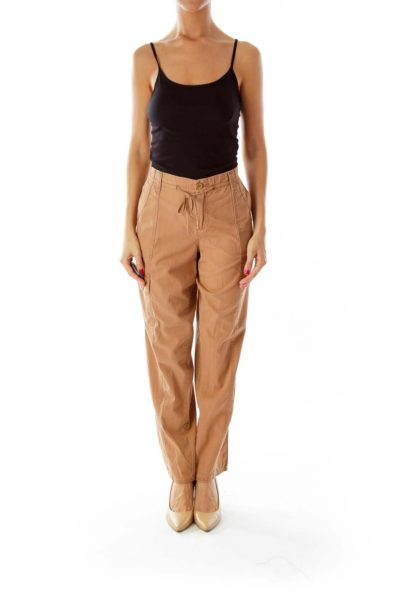Light Brown Cropped Cargo Pants