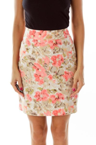 Brown Pink Floral Pencil Skirt